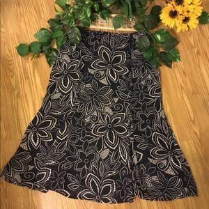 Rena Rowan Black & White Floral Maxi Skirt 14